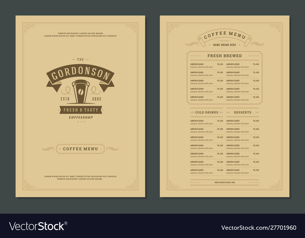 Coffee menu design template flyer for bar or cafe