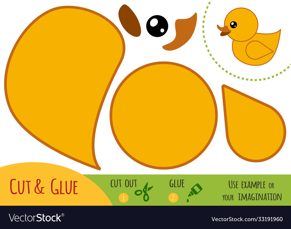 Education paper game for children duck