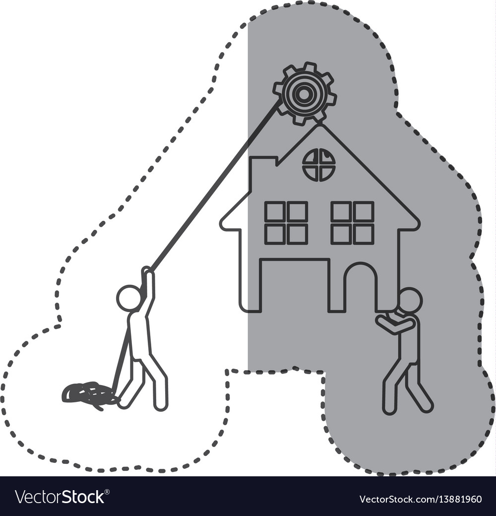 Figure person with pulleys hanging the house