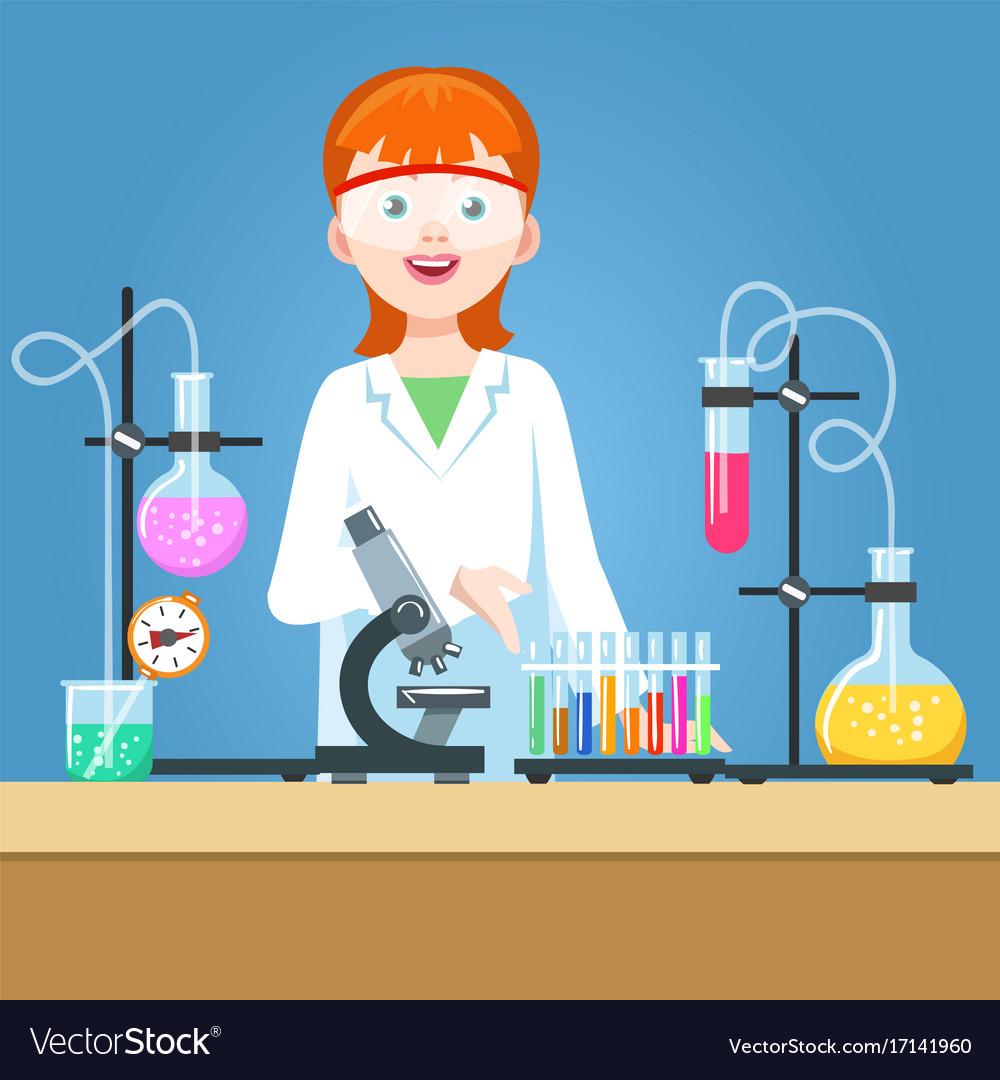 Girl scientist in chemical laboratory