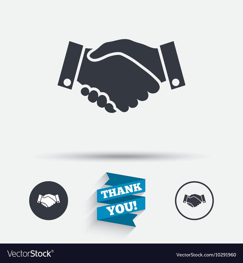 Handshake sign icon Successful business symbol