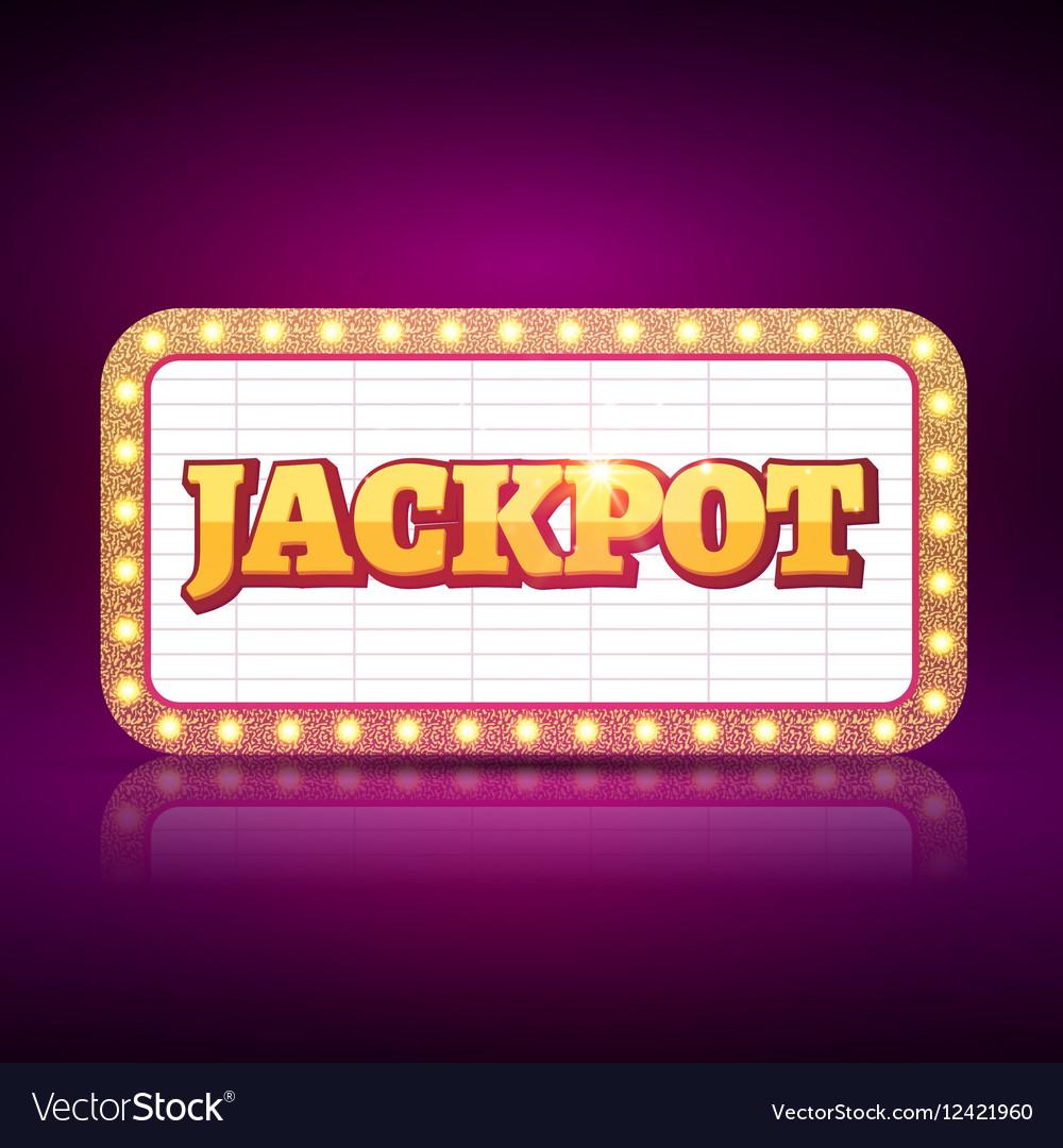Jackpot banner symbol Casino game neon sign of