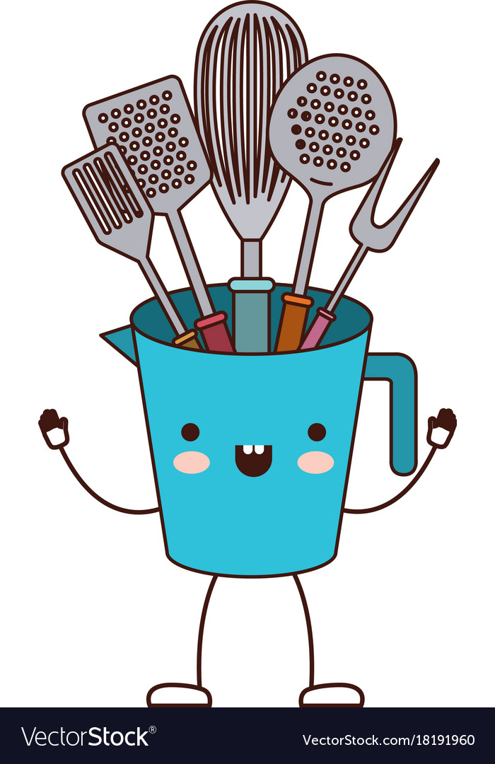Jar With Kitchen Utensils Colorful Cartoon Vector Image
