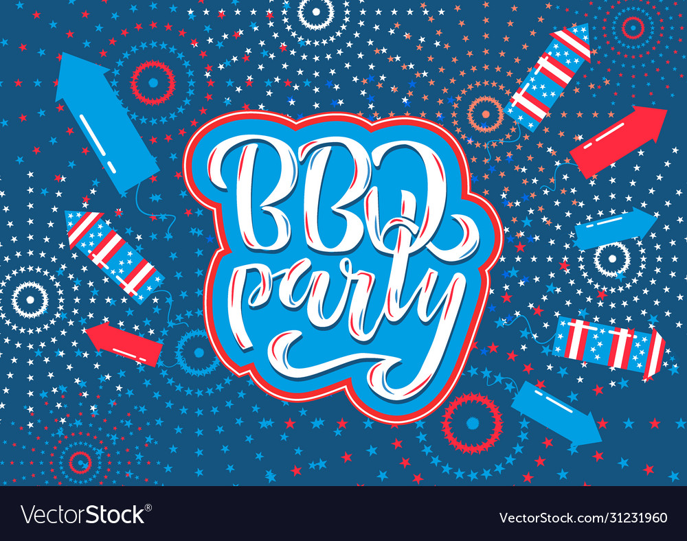 July 4th bbq party lettering invitation to