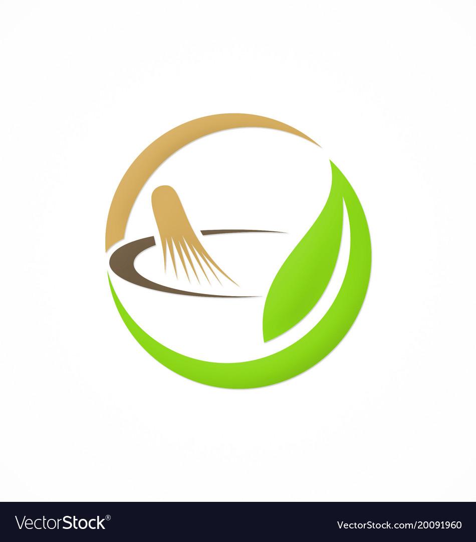 Mortar traditional medicine organic logo