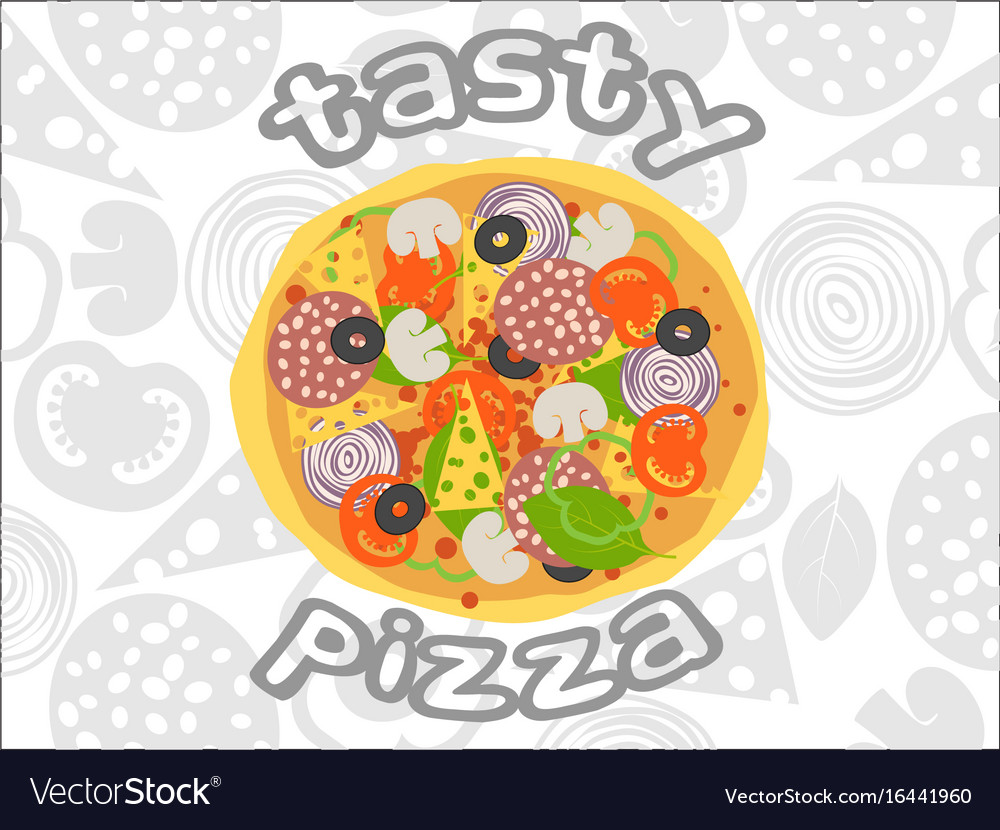 Pizza top view on white ingredients background