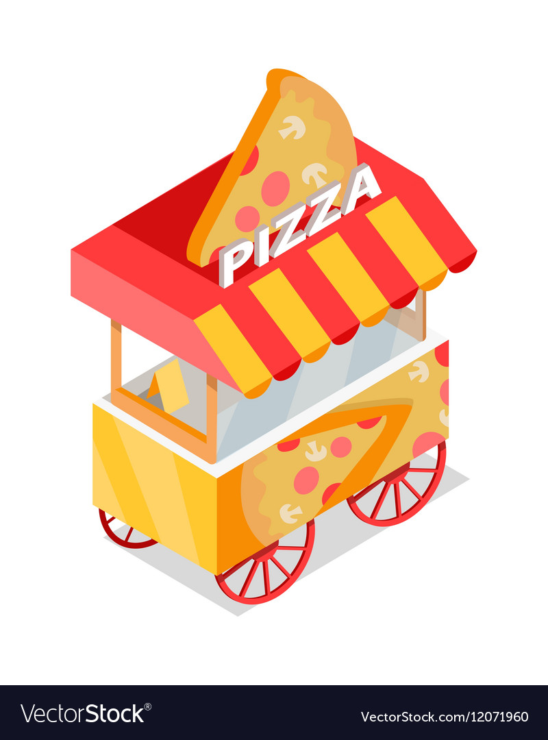 Pizza Trolley Store Isometric Icon