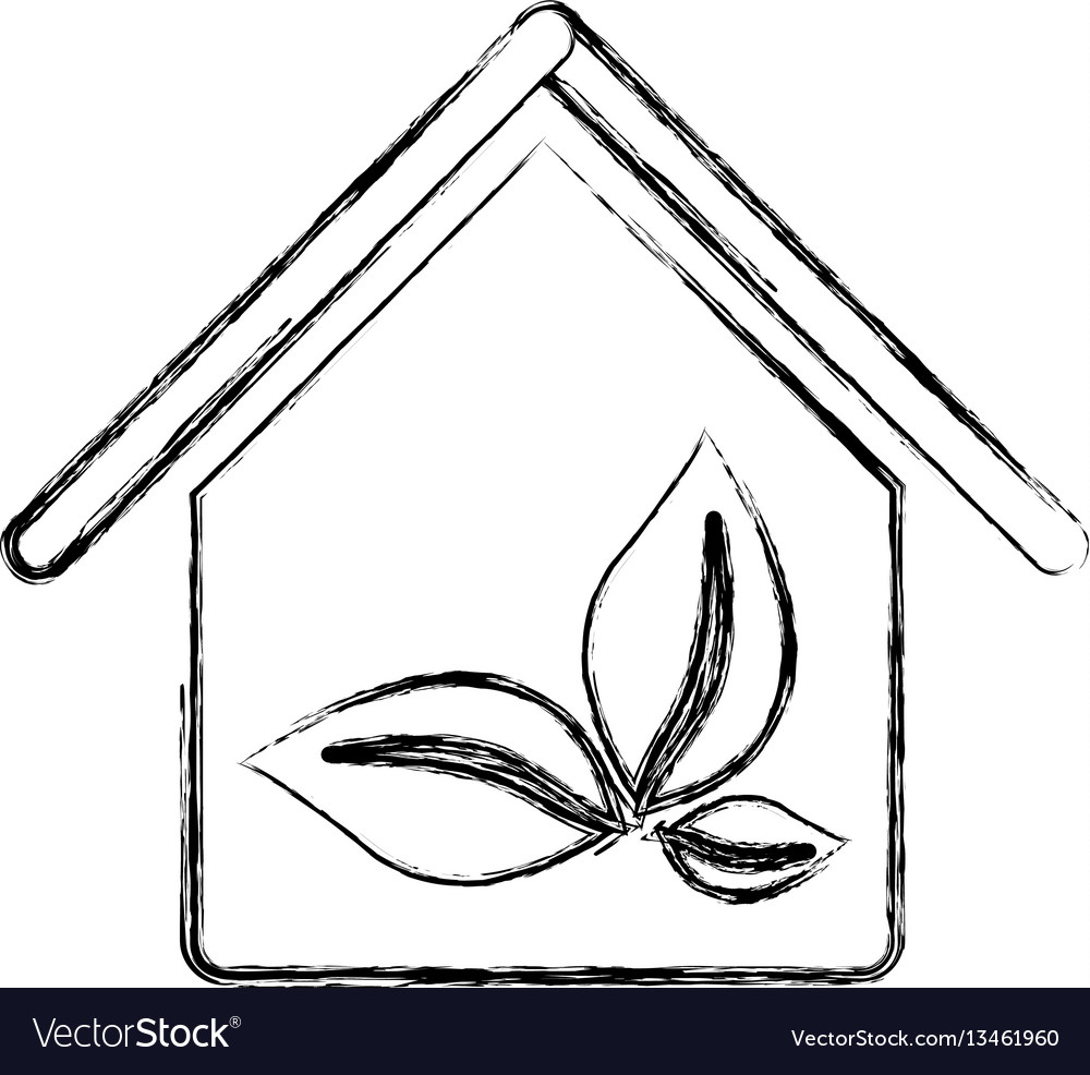 Silhouette blurred house with leaves inside vector image