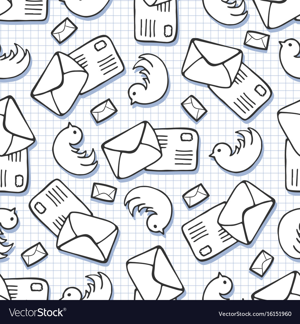 Twitter background doodle birds and letter mail
