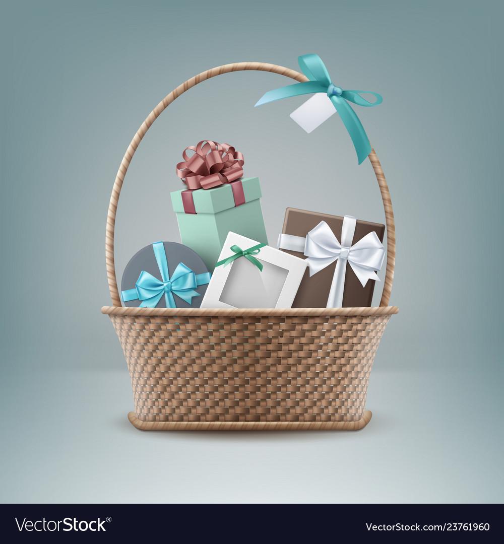 Wicker basket full gift