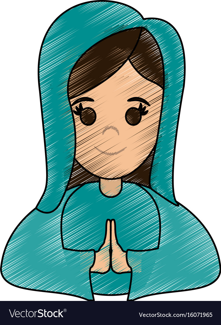 Blessed holy virgin mary icon vector image