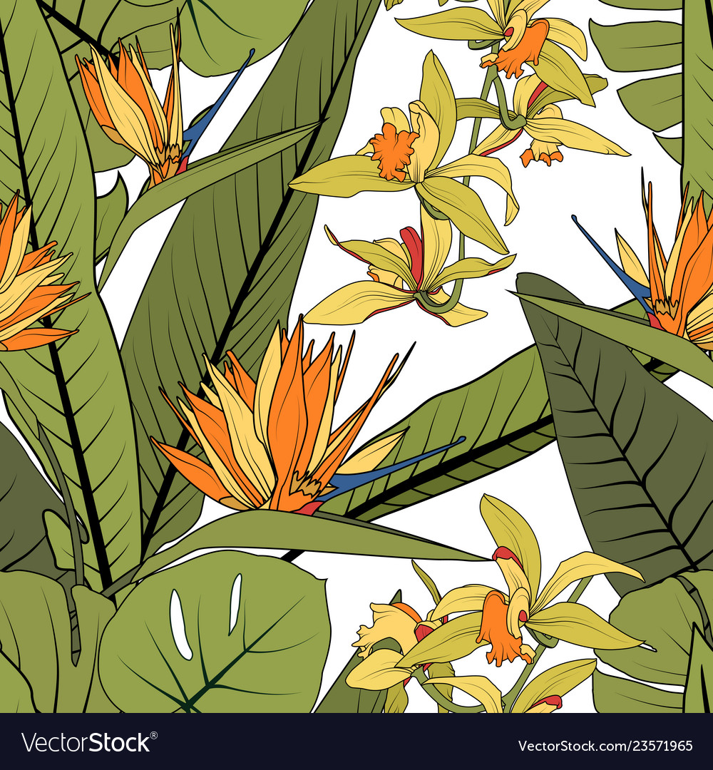 Bright tropical summer greenery floral seamless