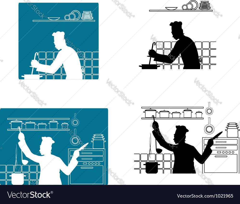 Chefs cooking on the kitchen vector image