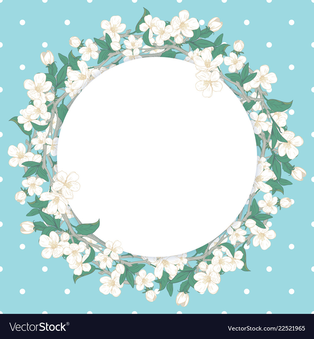 359bb7c31f65 Cherry blossom round pattern on blue polka dot Vector Image