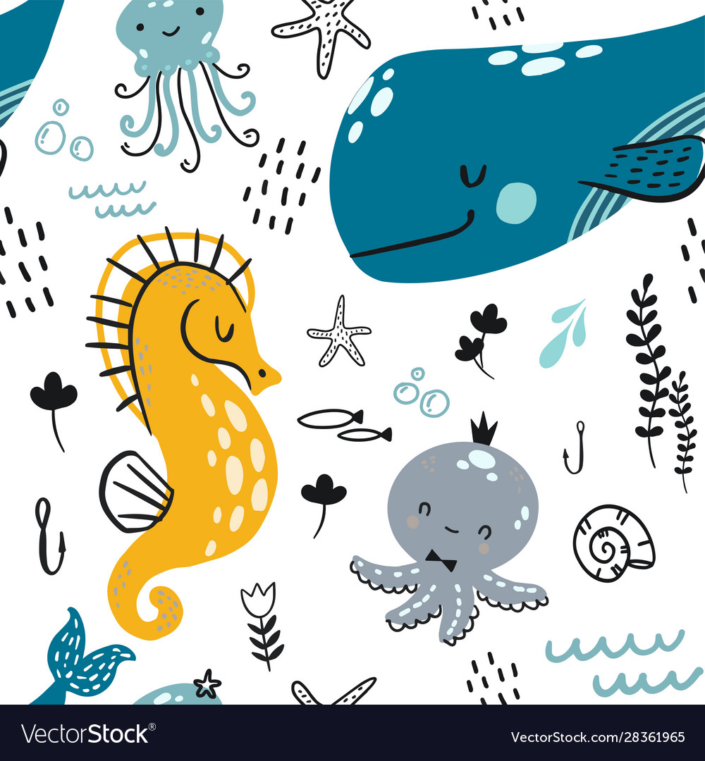 Flat doodle underwater childish pattern a