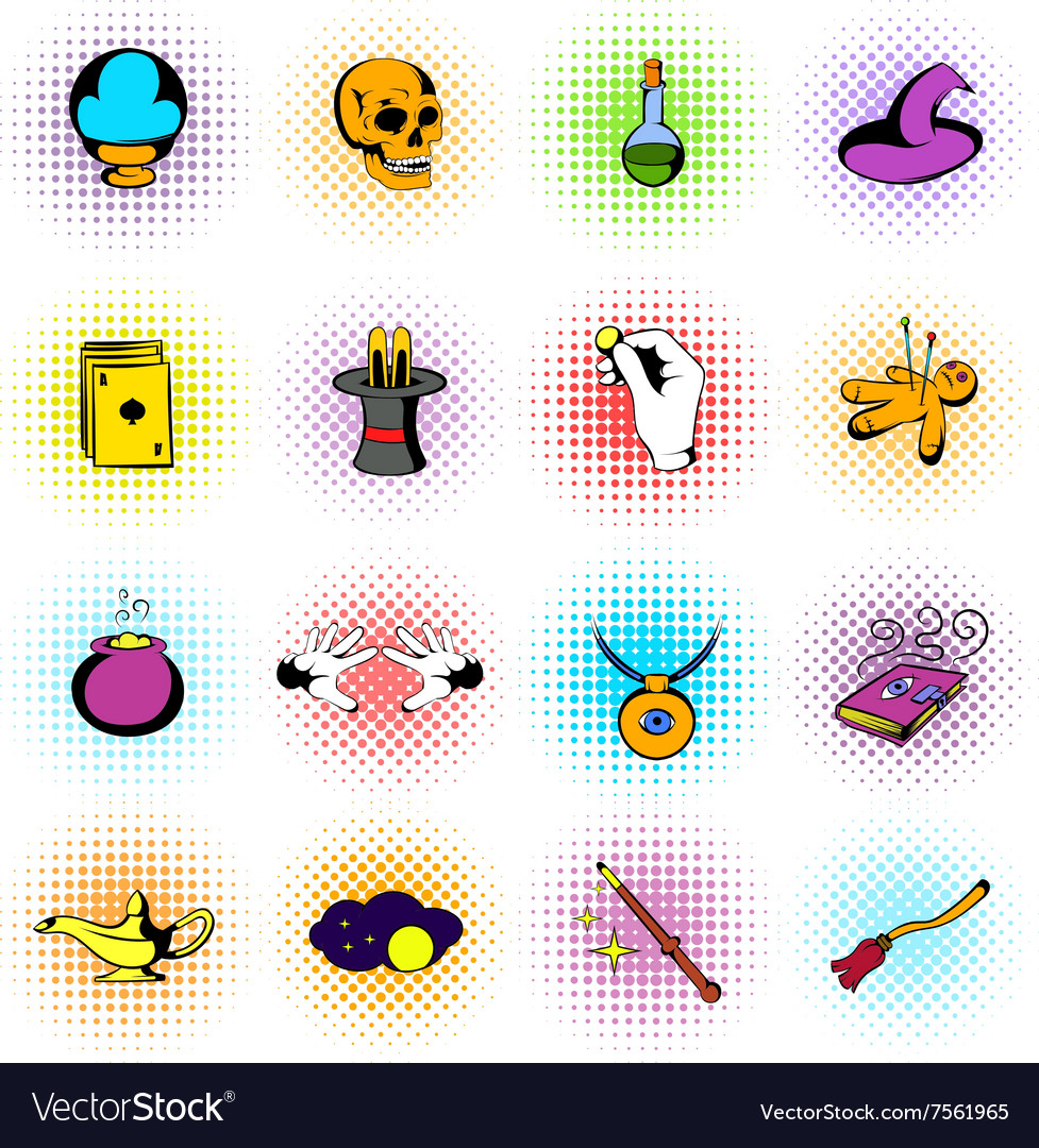 Magic comics icons vector image
