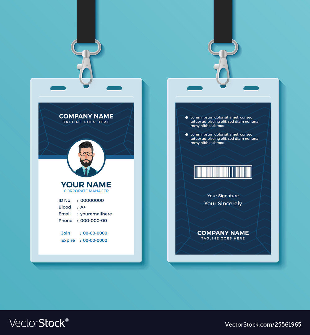 Modern and clean id card design template Vector Image Regarding Company Id Card Design Template