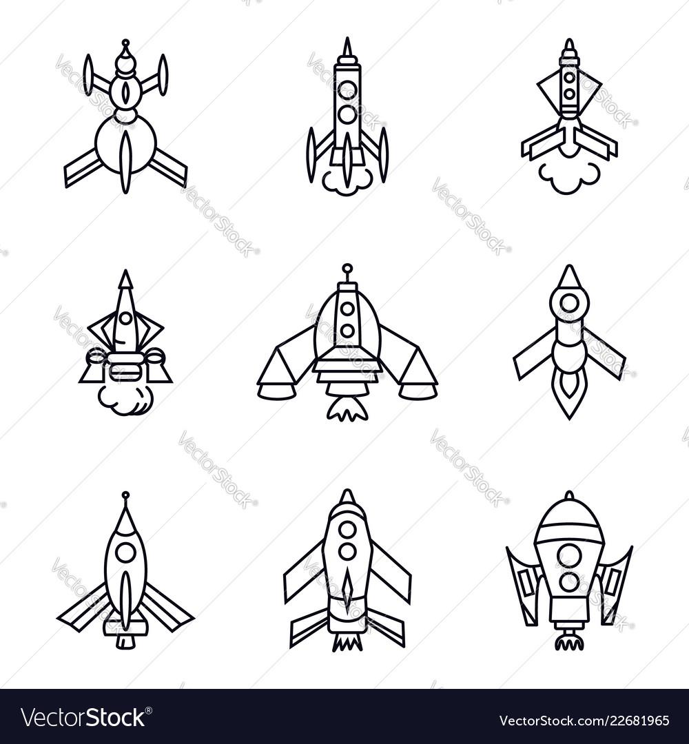 Set of rocket icons isolated on white background