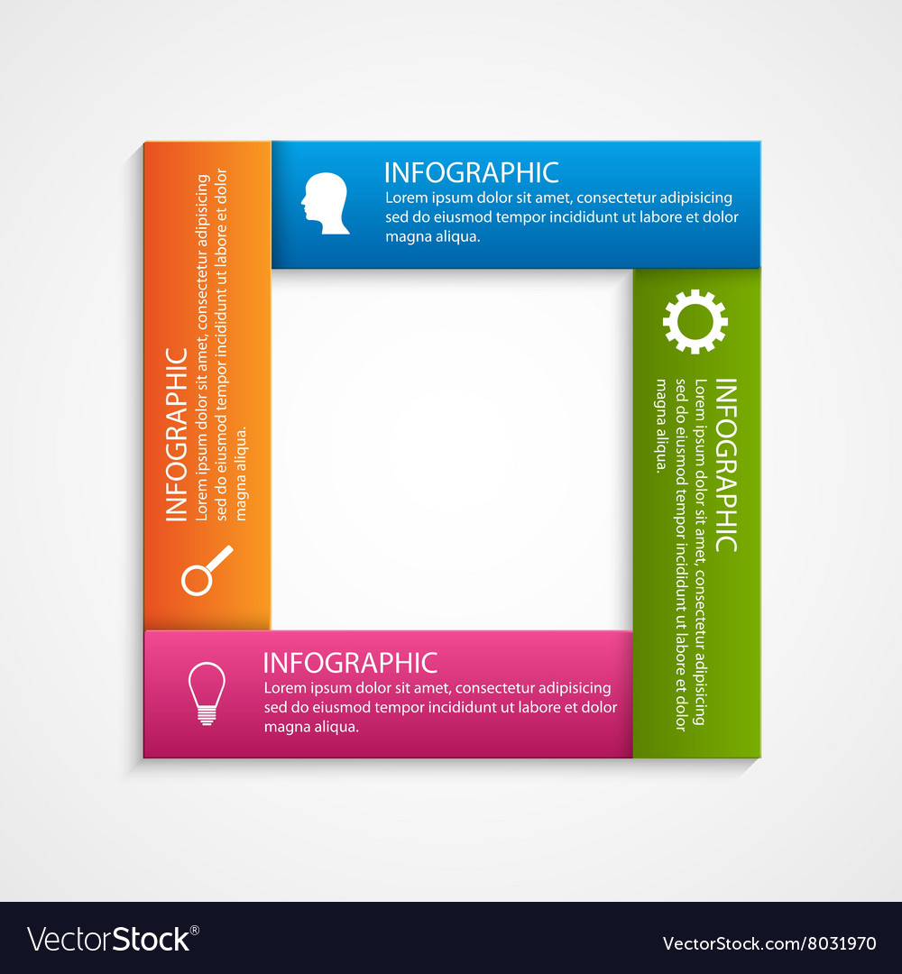 Abstract square options infographics template