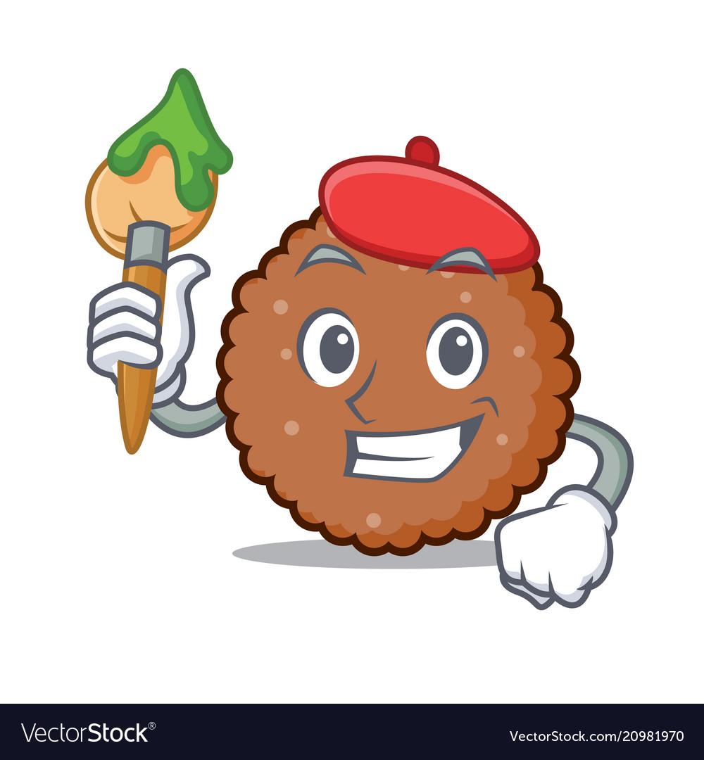 Artist chocolate biscuit character cartoon