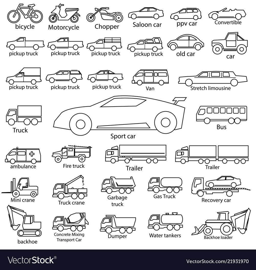 Car icon set outline automobile cars