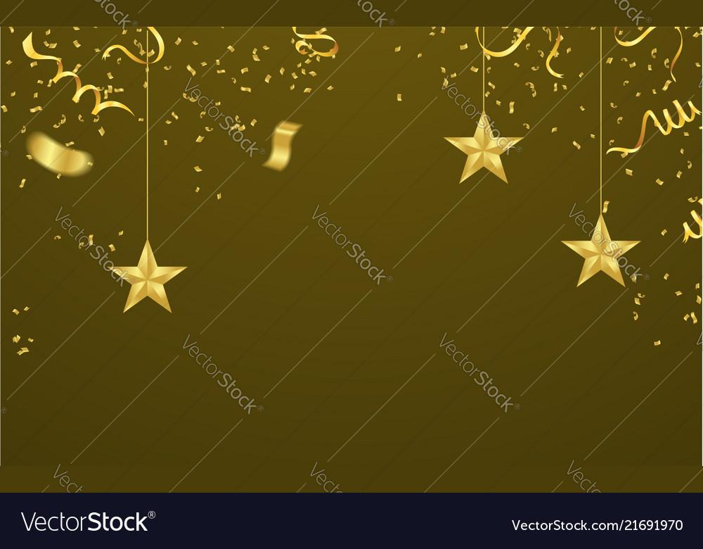Celebrated with ornamental stars of gold confetti
