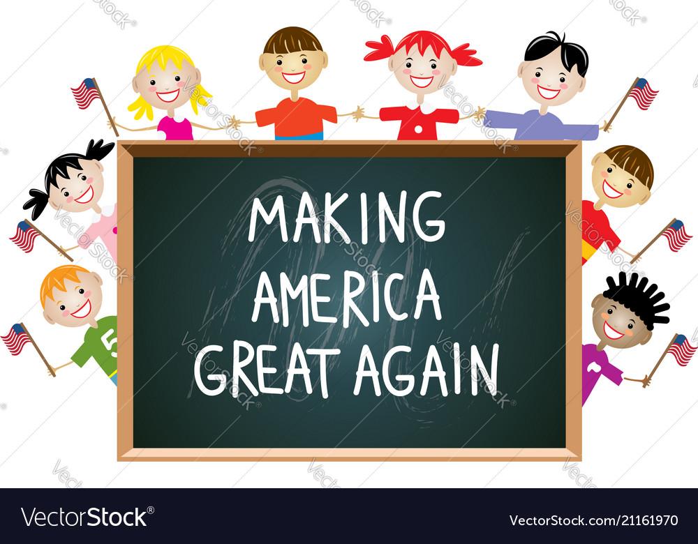 Children american patriotic education concept vector image