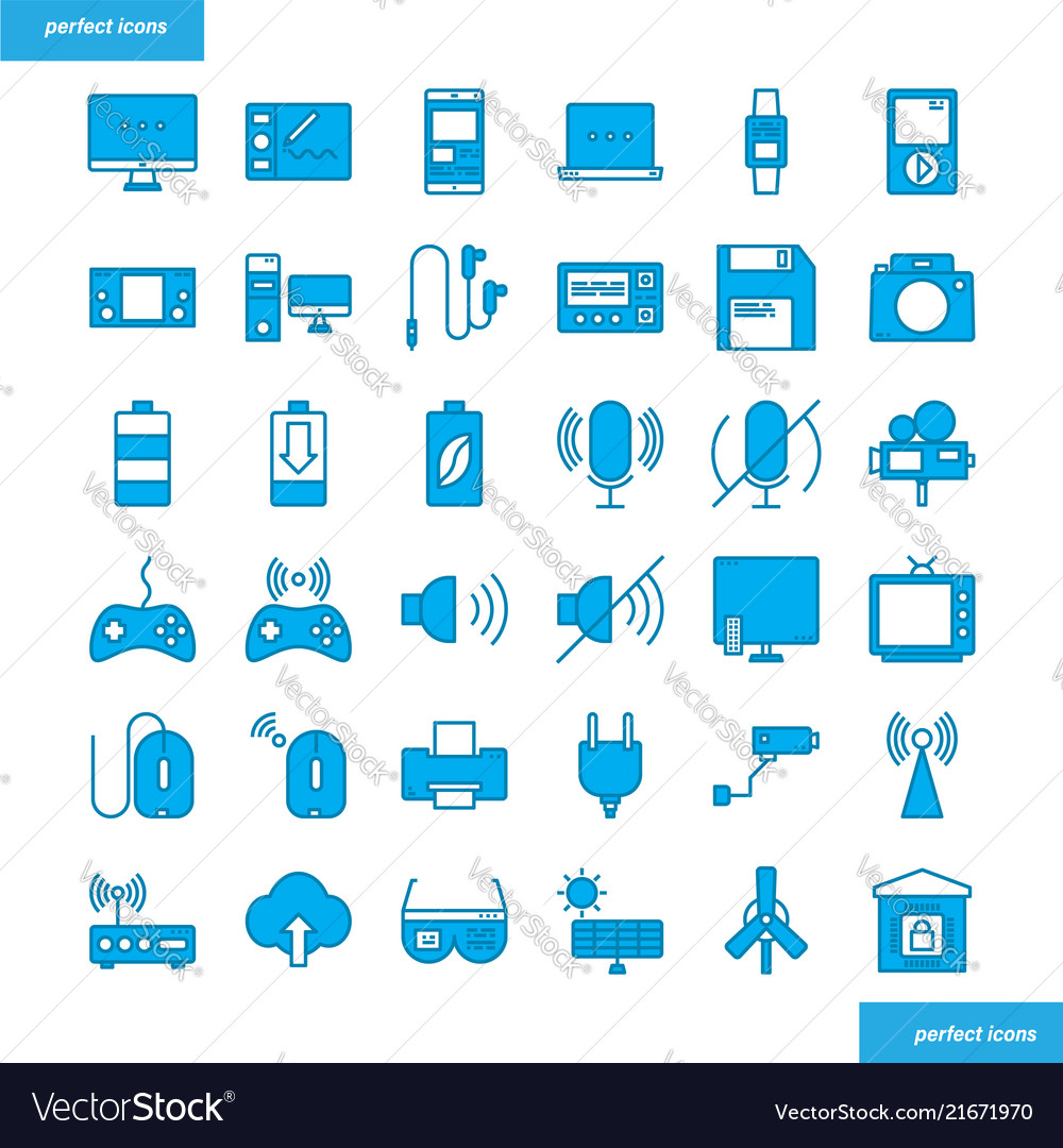 Device and technology blue icons set style