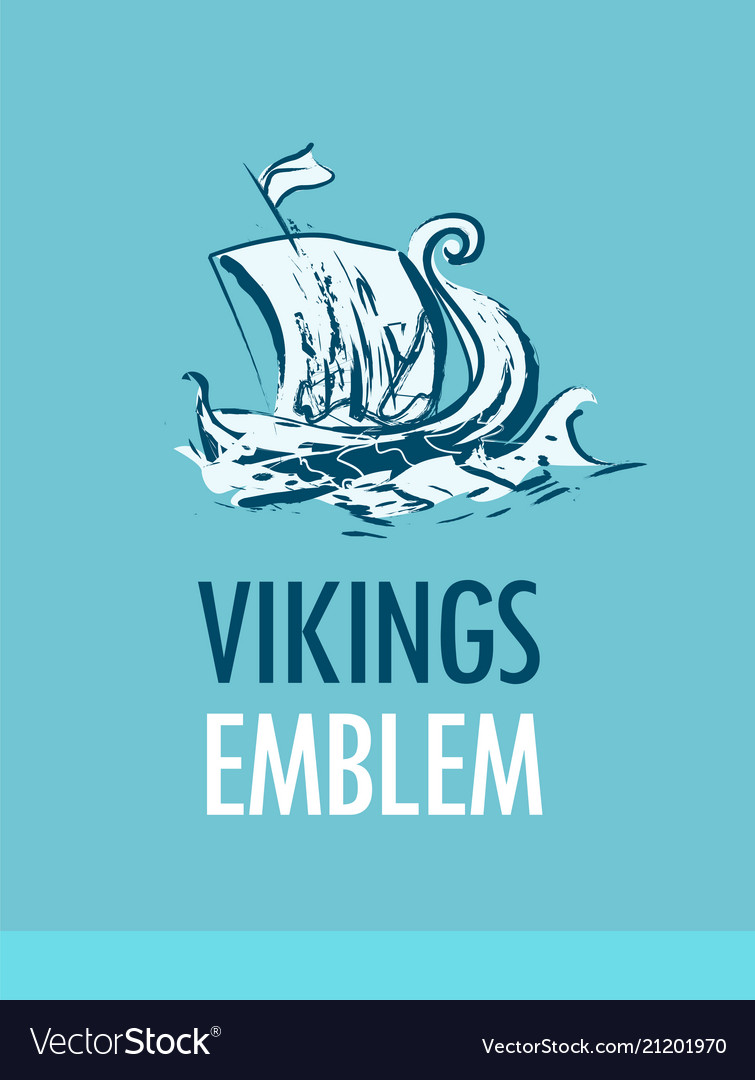 Emblem with scandinavian ship - vikings drakkar in