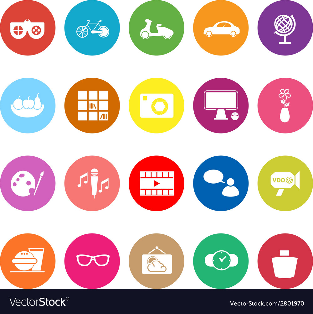 Favorite and like flat icons on white background