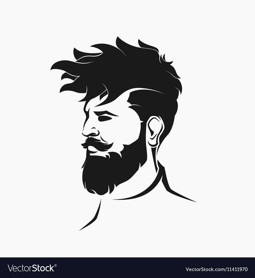 Hipster figure with beard and hair
