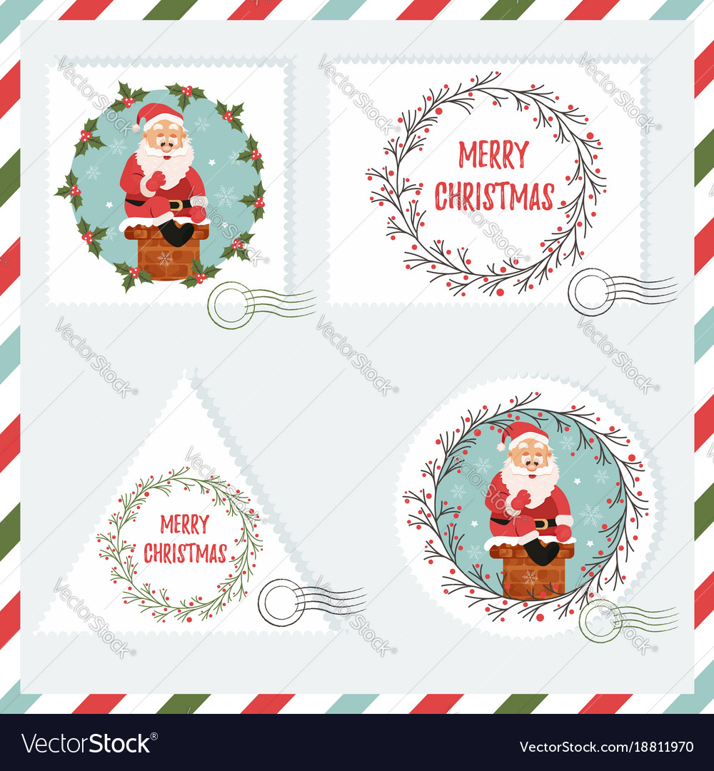 Holiday set of stamps with santa