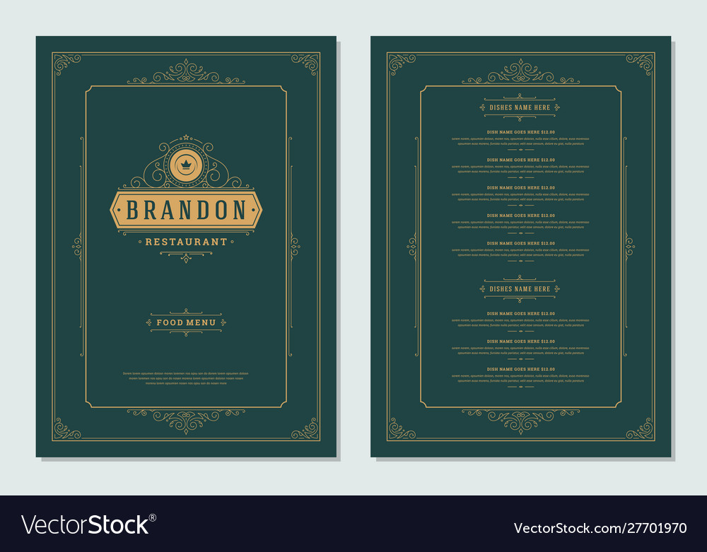 Menu design template with cover and restaurant