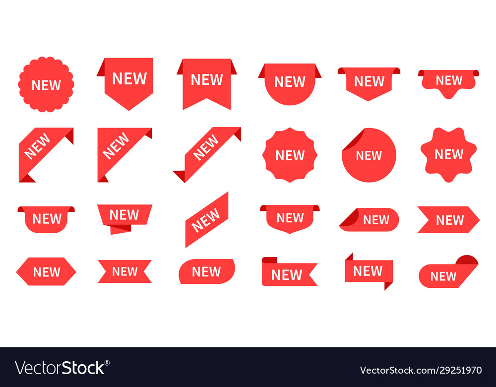 New arrival red product labels retail messages