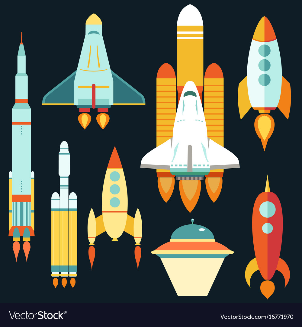 Rocket ships start up flat style set