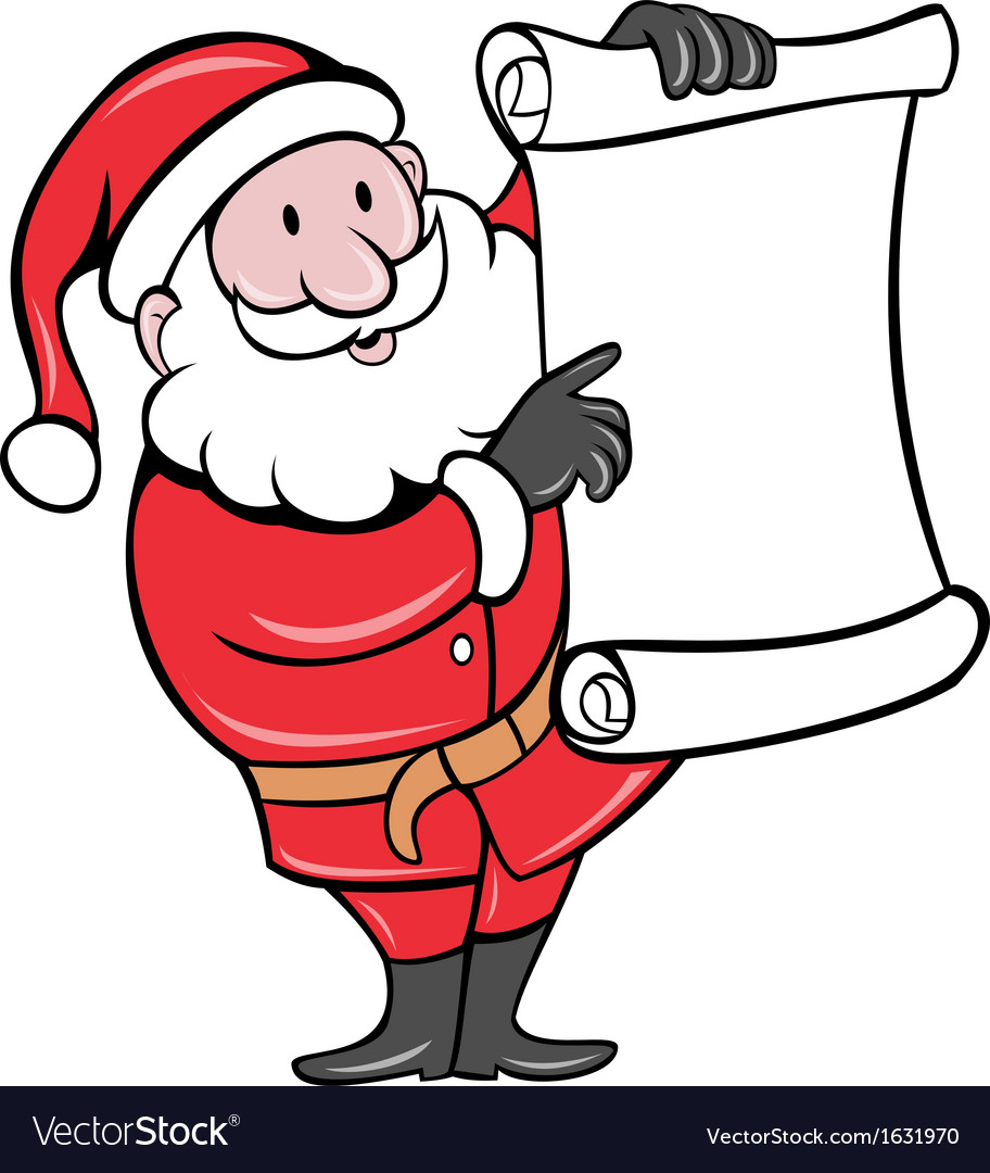 santa claus holding scroll list royalty free vector image