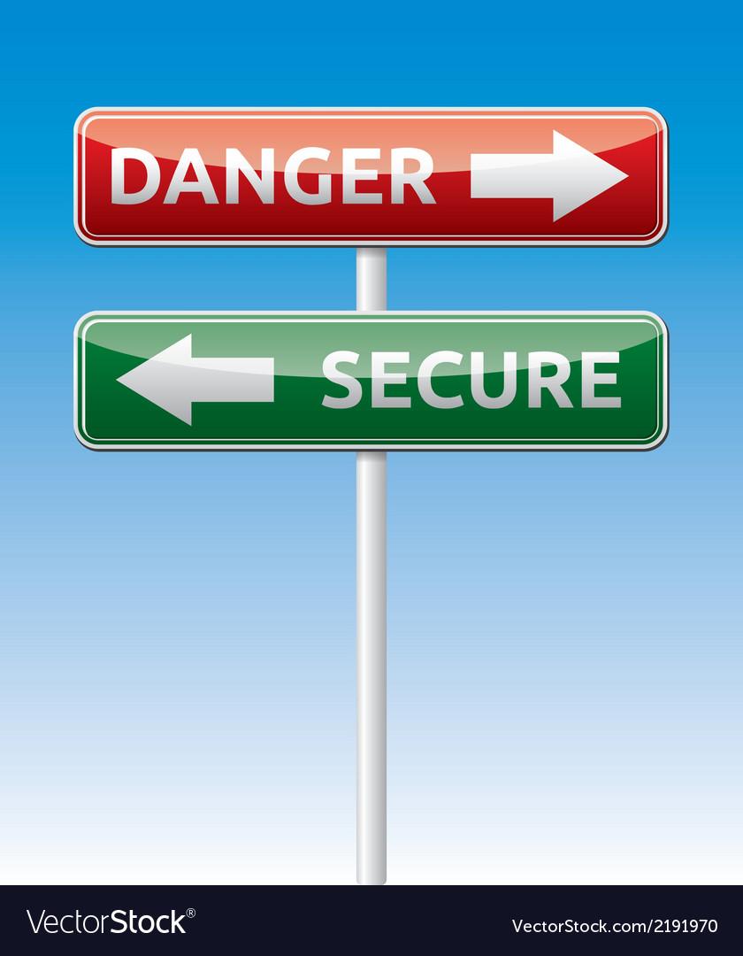 Secure - Danger way traffic road board