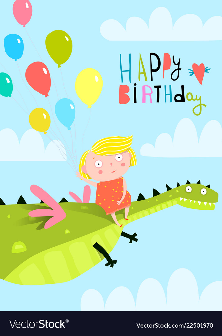 Small girl kid and dragon in sky