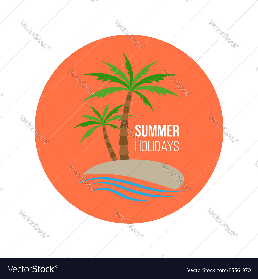Summer holiday poster badge with palm trees