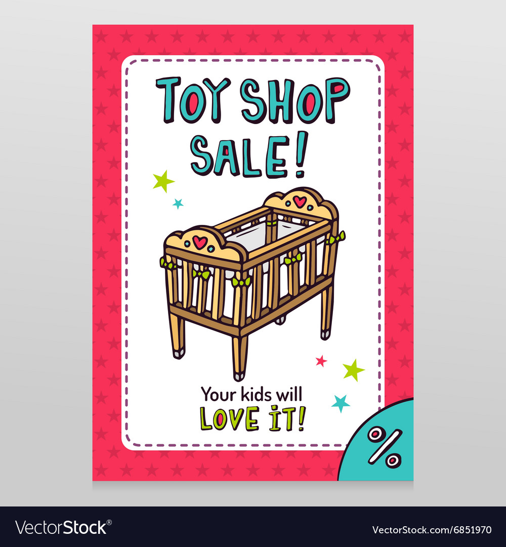 Toy shop sale flyer design with baby crib