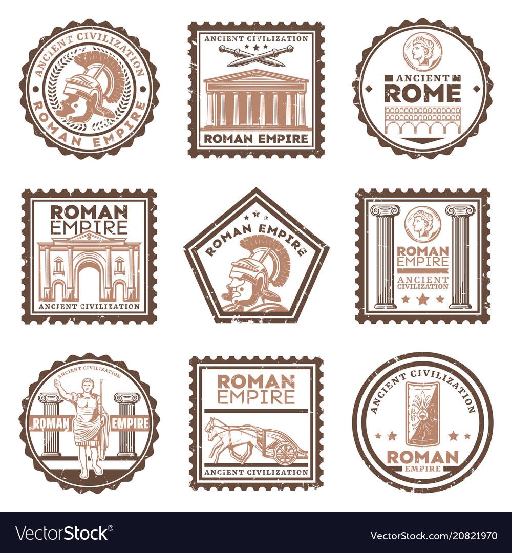 Vintage ancient rome civilization stamps set