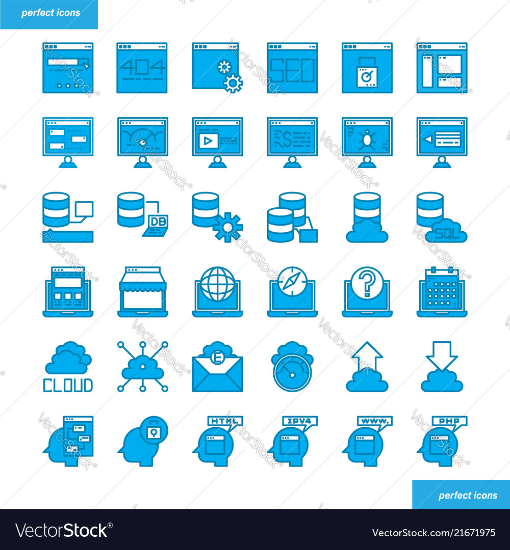 Browser and interface blue icons set style