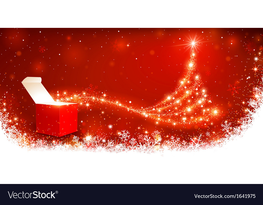 Christmas background with magic box vector image