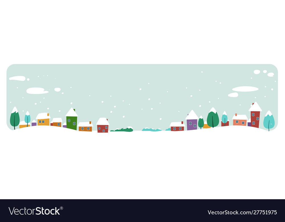Cute houses snowy town on winter background merry