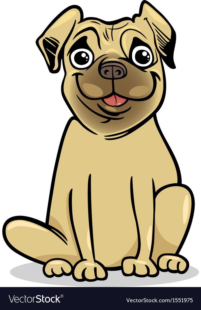 Cute pug dog cartoon vector image