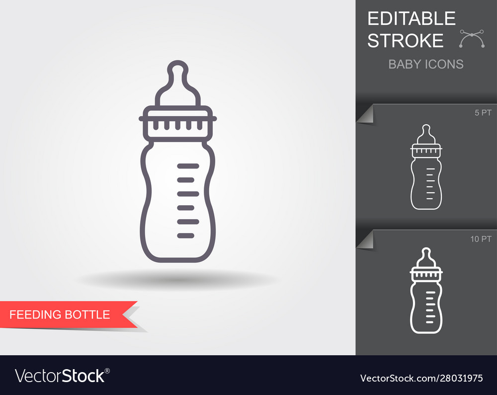 Feeding bottle line icon with editable stroke