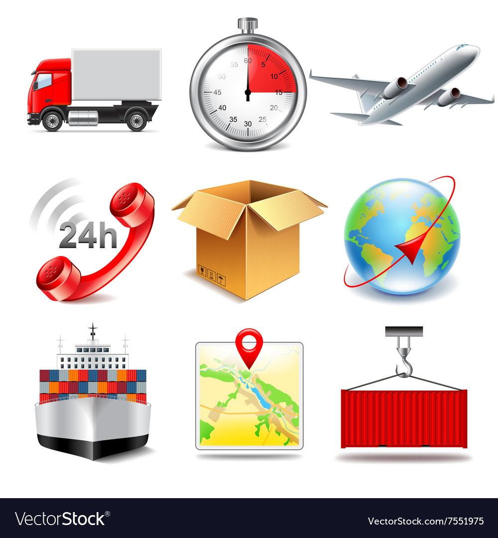 Logistics icons set vector image