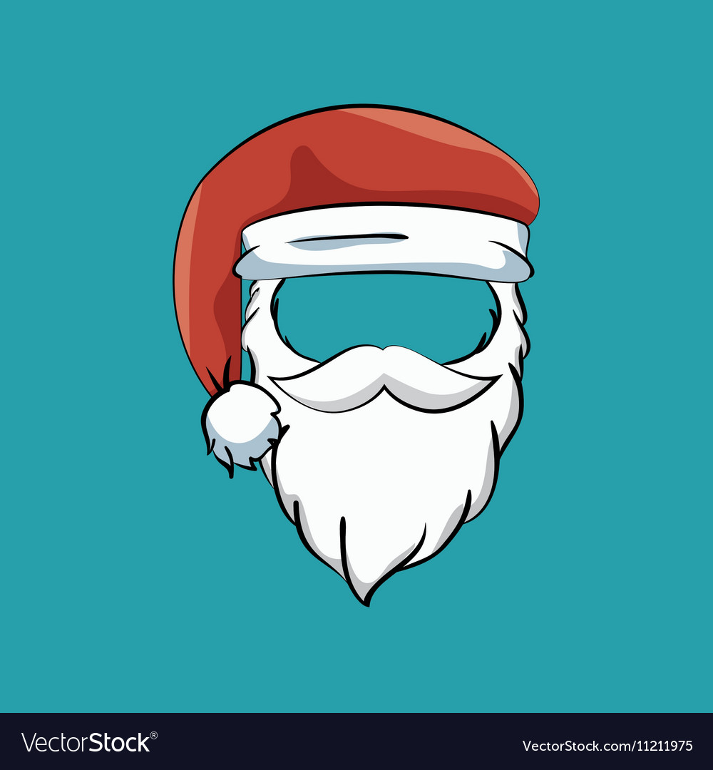 ec4e603785297 Mustache beard hat santa claus Royalty Free Vector Image