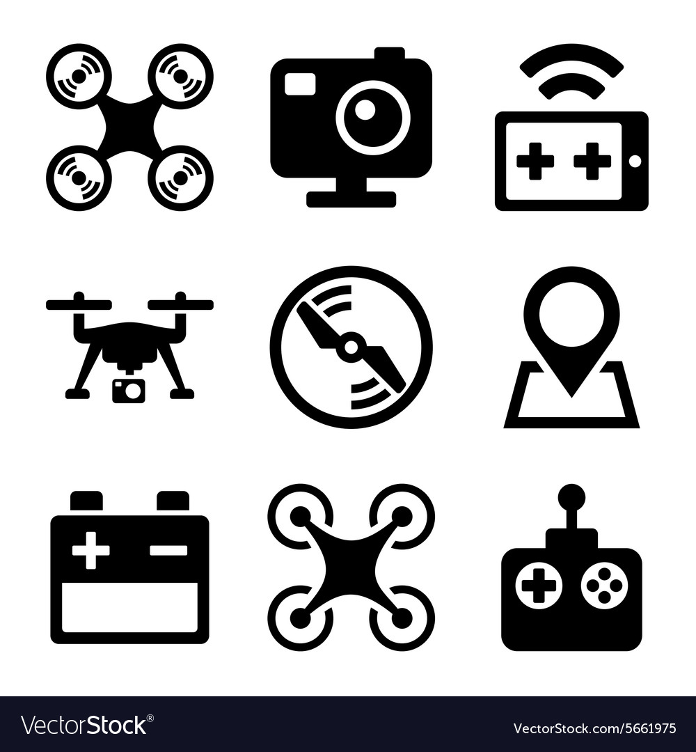 Quadcopter and Drone Icons Set on white background
