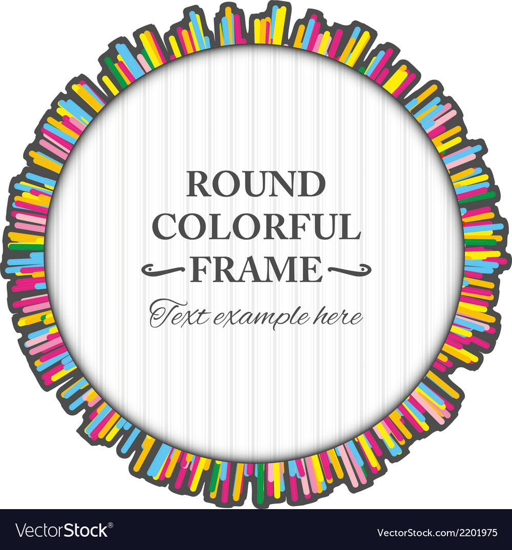 Round colorful frame made of many small lines